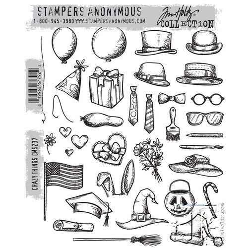 "Tim Holtz Cling Stamps 7""X8.5"" - Crazy Things Stamp Set"