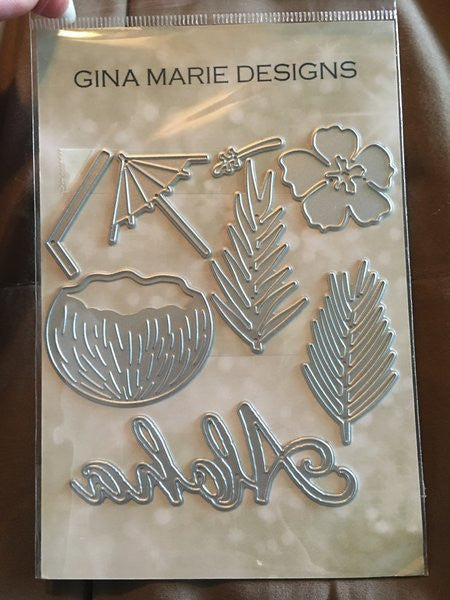Gina Marie Designs ALOHA TROPICAL DRINK DIE SET