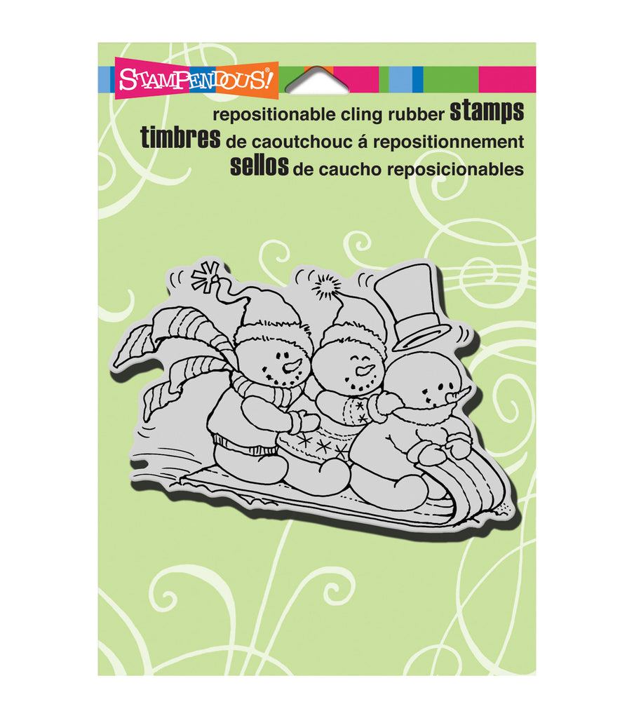 "Stampendous Christmas Cling Rubber Stamp 5.5""X4.5"" Sheet-Snowy Sled"