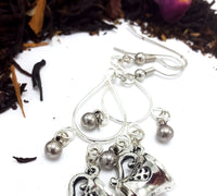 Antique Silver Teacup Teardrop Dangle Earrings