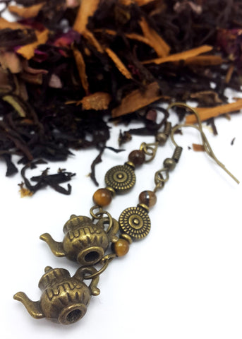 Antique Brass & Tiger's Eye Teapot Earrings