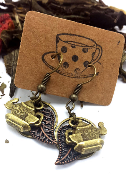 Antique Brass and Copper Leaves Teapot Earrings