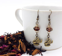 Antique Brass with Wrapped Amber Teapot Earrings