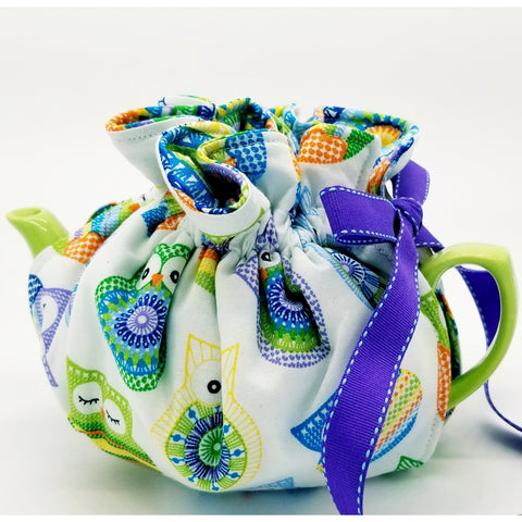 Vibrant Owls/Spirals - Tea Cozy