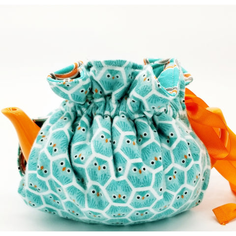 Blue Owls/Feathers - Tea Cozy