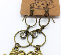 Antique Brass Teapot Circle Drop Earrings
