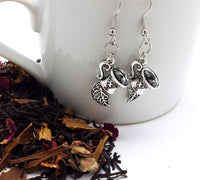 Antique Silver Teacup and Tea Leaf Earrings