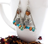 Triangle Drop Antique Silver Tea Earrings