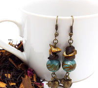 Antique Brass 'Tea Time' Teapot Earrings