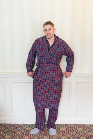 Irish Flannel Nightwear - Purple Navy Tartan LV28
