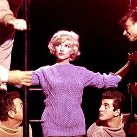 Marilyn Monroe Aran Sweater (Photo: https://www.scoopnest.com/user/BritishVogue/794534669207252992-from-marilyn-monroe-in-aran-to-emma-watson39s-hermione-wardrobe-miss-vogue-charts-the-best-onscreen)
