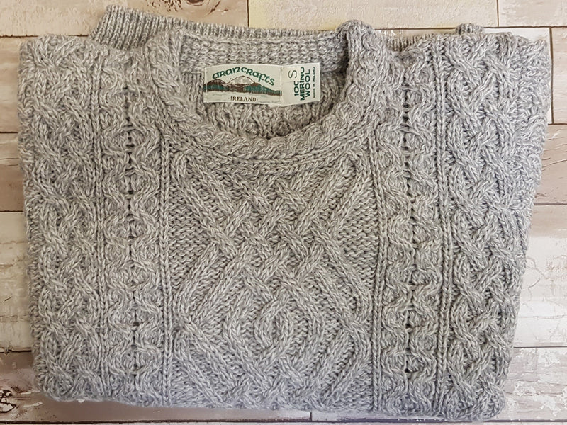 Aran Wool Two Pocket Ladies Sweater - Soft Grey (C4443) Knitwear Westend