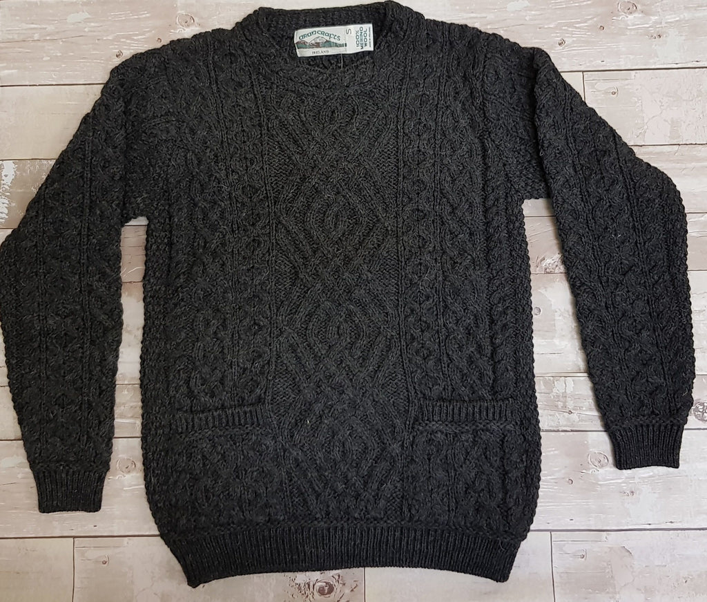 Aran Wool Two Pocket Ladies Sweater - Charcoal (C4443) Knitwear Westend