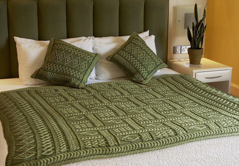 Aran Wool Cushion Covers - Marl Green - X4350 - Lee Valley Ireland
