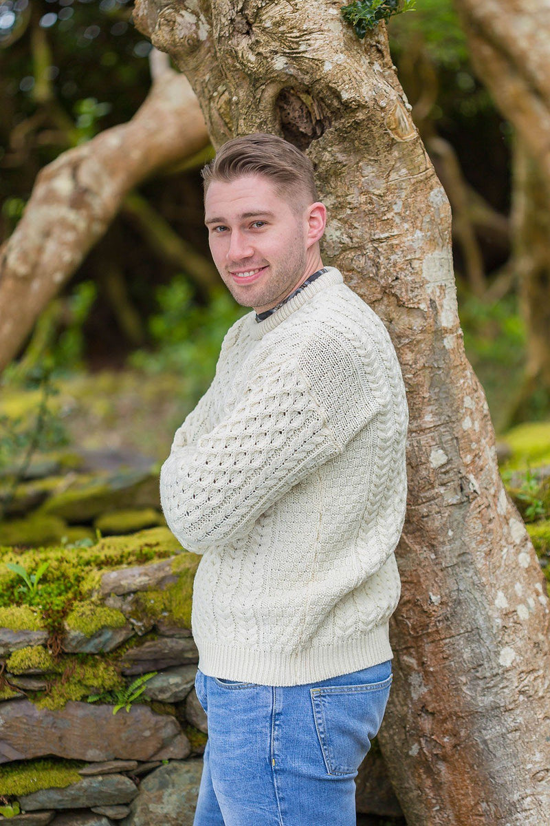 Aran Wool Sweater Mens - Natural (C1949) - Lee Valley Ireland - 3