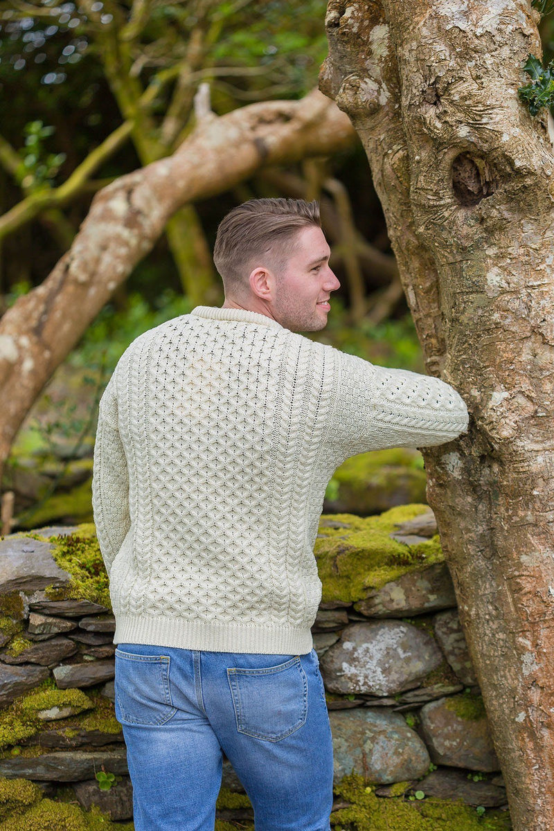 Aran Wool Sweater Mens - Natural (C1949) - Lee Valley Ireland - 2