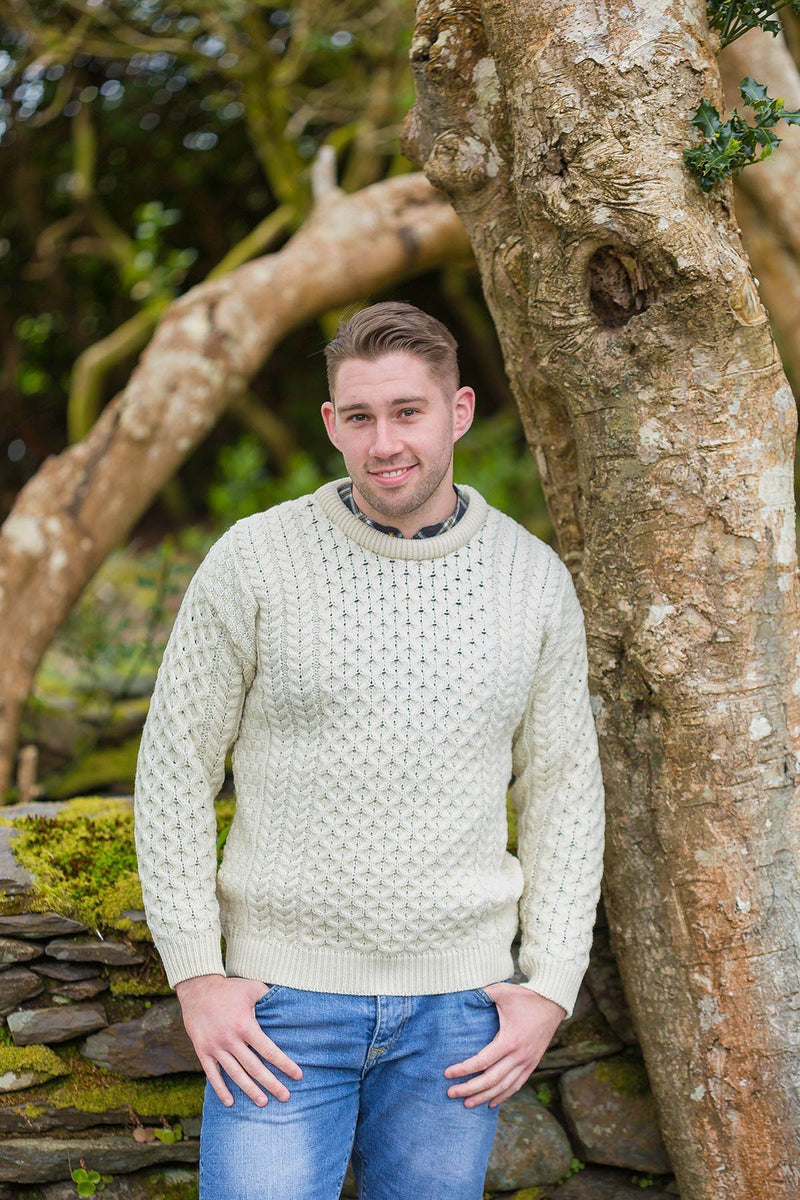 Aran Wool Sweater Mens - Natural (C1949) Knitwear Westend
