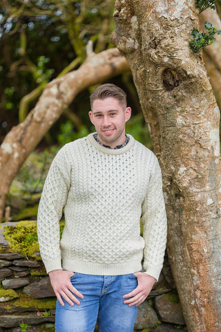Aran Wool Sweater Mens - Natural (C1949) - Lee Valley Ireland - 1