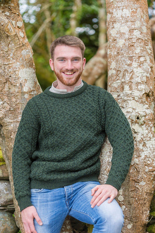 Aran Wool Sweater Mens - Pine Green (C1949) - Lee Valley Ireland - 1