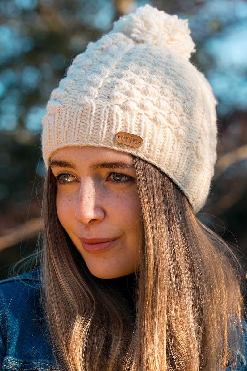Erin Irish Wool Bobble Hat - Cream Caps Erin Knitwear