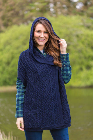 Blasket Woollen Hooded Cape Ladies - Navy (HD4556) - Lee Valley Ireland - 1