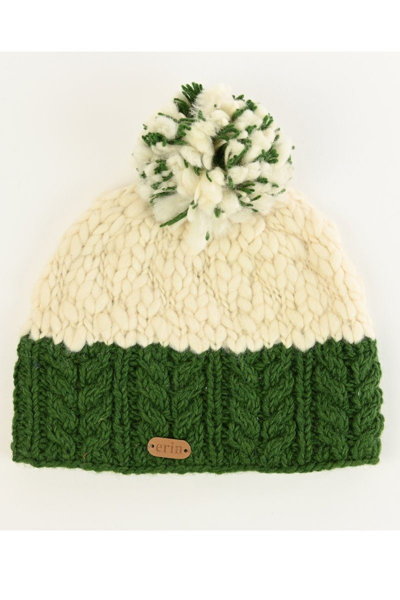 Irish wool bobble hat - green/white