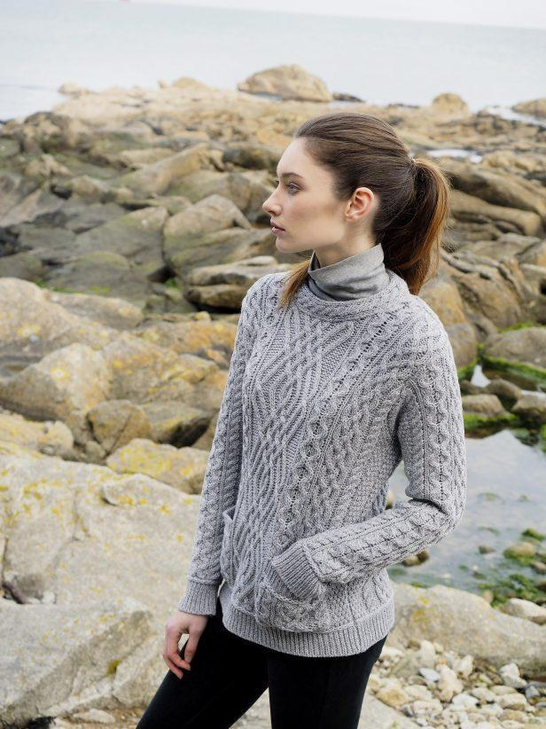 Aran Wool Two Pocket Irish Sweater Ladies - Lee Valley Ireland - 3
