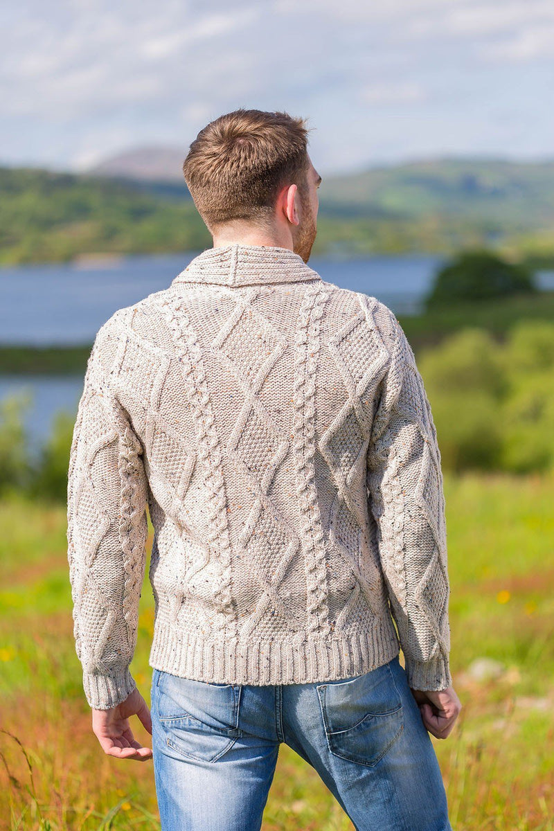 Aran Sweater Cardigan- Oatmeal (SH4139) - Lee Valley Ireland - 2