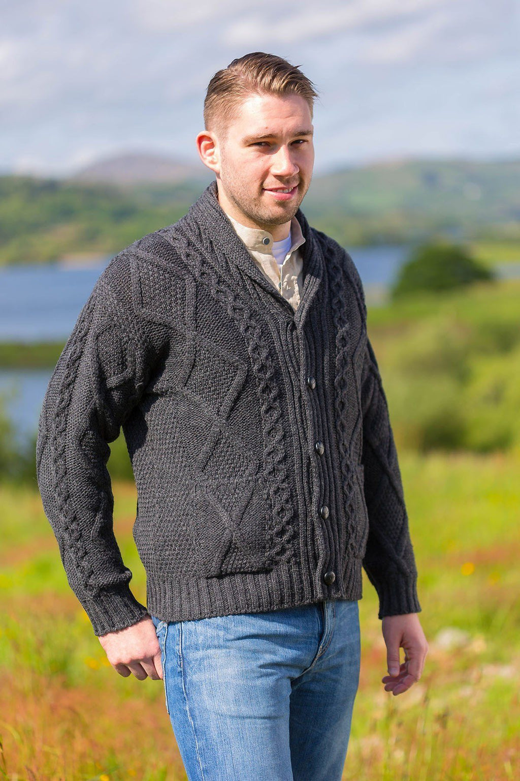 Aran Sweater Cardigan- Charcoal (SH4139) - Lee Valley Ireland - 3