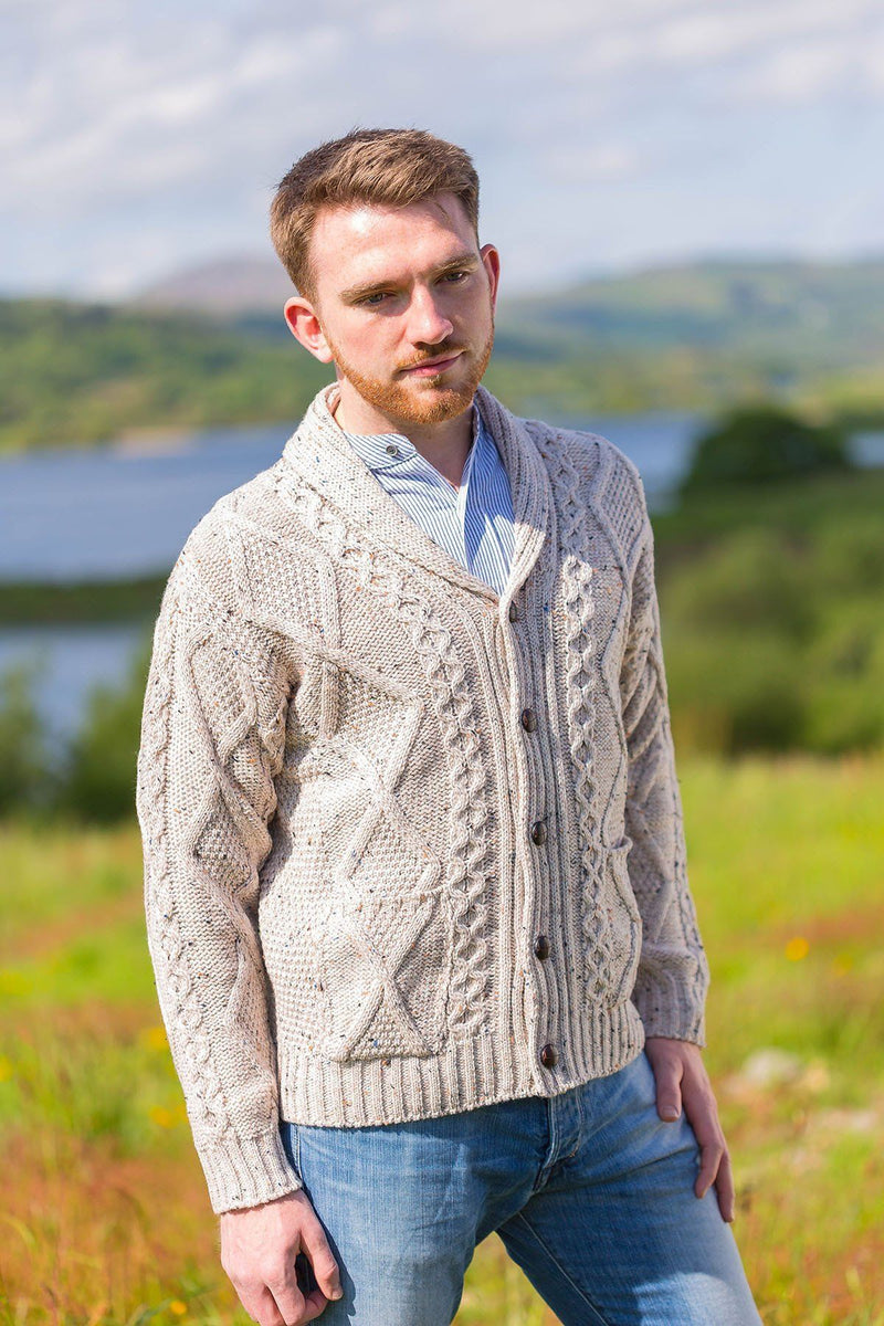 Aran Sweater Cardigan- Oatmeal (SH4139) - Lee Valley Ireland - 3