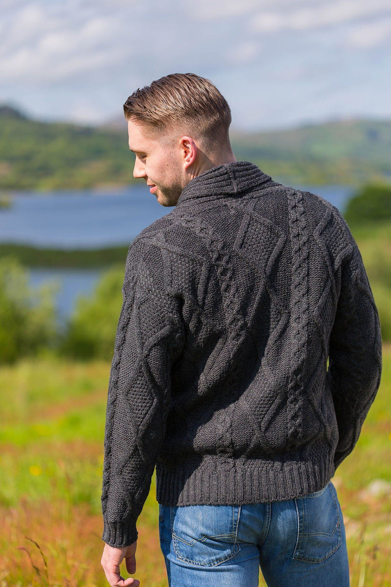 Aran Sweater Cardigan- Charcoal (SH4139) - Lee Valley Ireland - 2