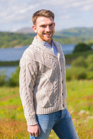 Aran Sweater Cardigan- Oatmeal (SH4139) - Lee Valley Ireland - 1