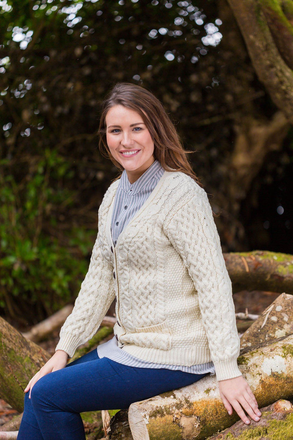 Wool Boyfriend Cardigan Cashel  - Natural (X4241) - Lee Valley Ireland - 1