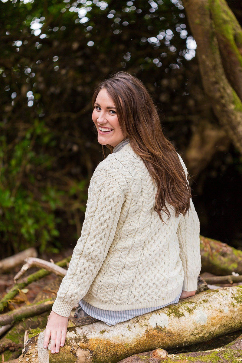 Wool Boyfriend Cardigan Cashel  - Natural (X4241) - Lee Valley Ireland - 2