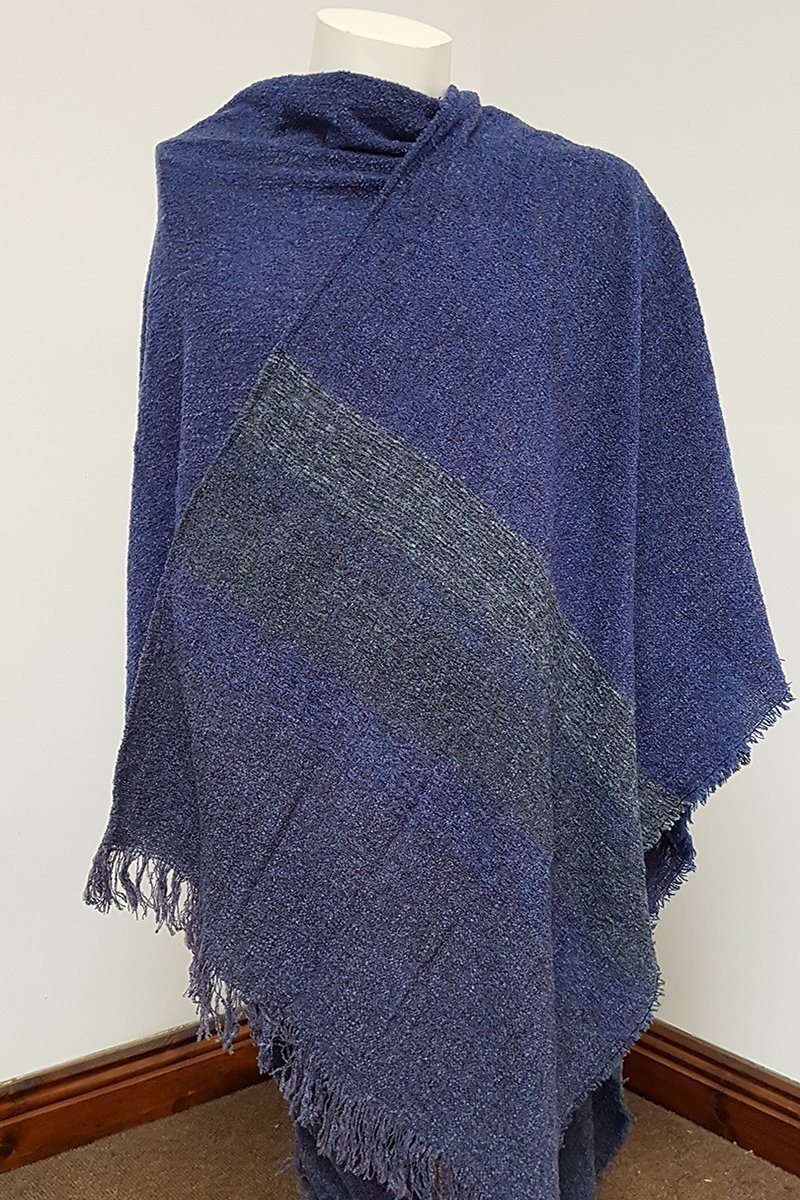 Celtic Wool Shawl - Mountain Blue Knitwear Lee Valley Ireland
