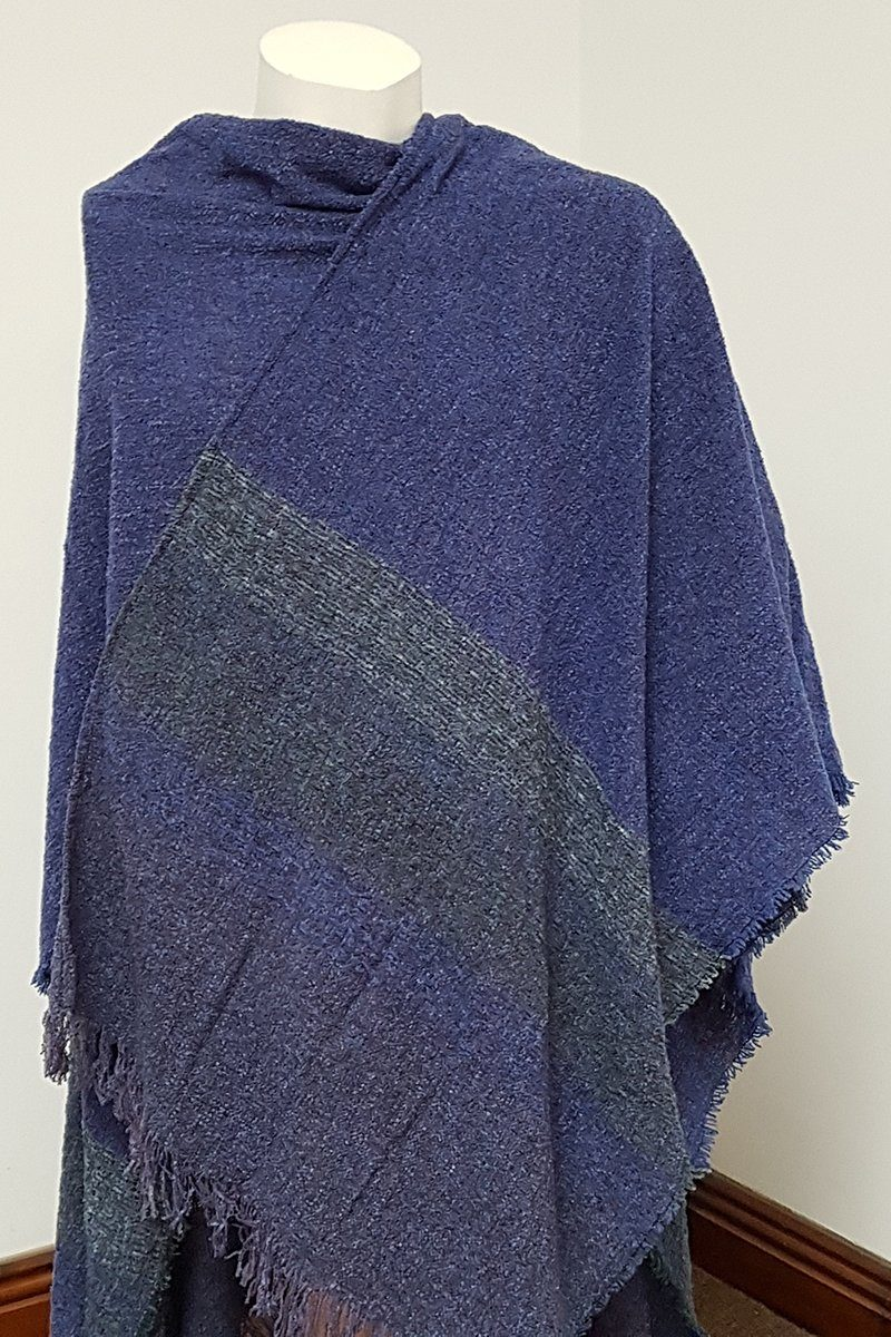 Wool Shawl - Midnight Blue -2