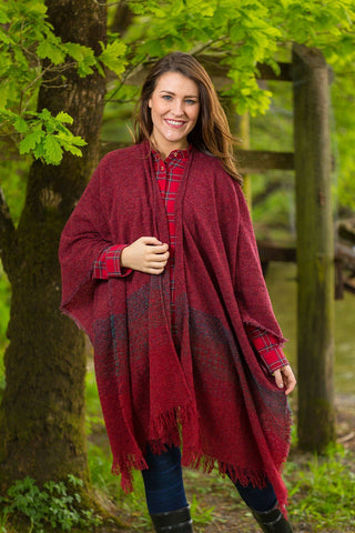 Celtic Wool Shawl -Rich Red - Lee Valley Ireland - 1