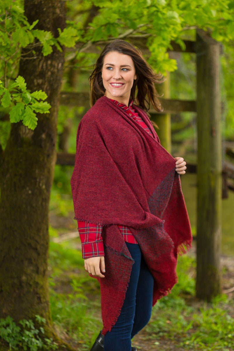 Celtic Wool Shawl - Rich Red Knitwear Lee Valley Ireland