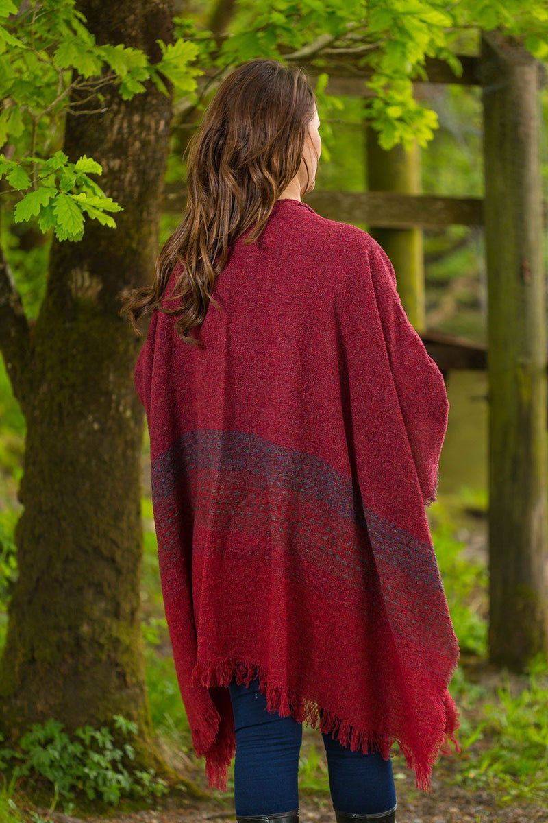 Celtic Wool Shawl -Rich Red - Lee Valley Ireland - 2