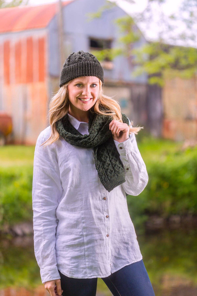 Cobh Wool Scarf Ladies - Pine Green Knitwear Westend
