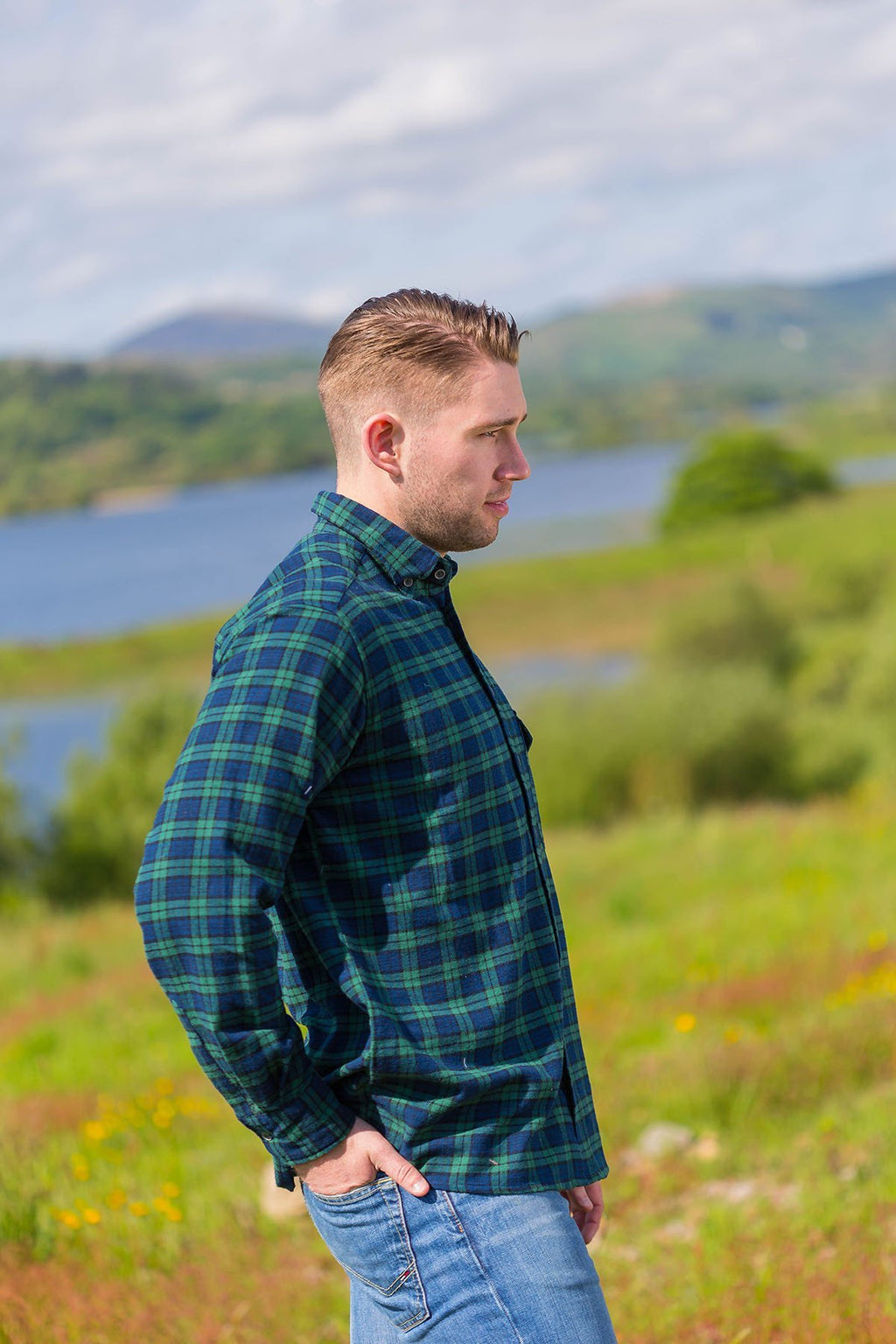 Collar Shirt Mens Cotton Flannel Green Tartan- Blackwatch (LV6) - Lee Valley Ireland - 1