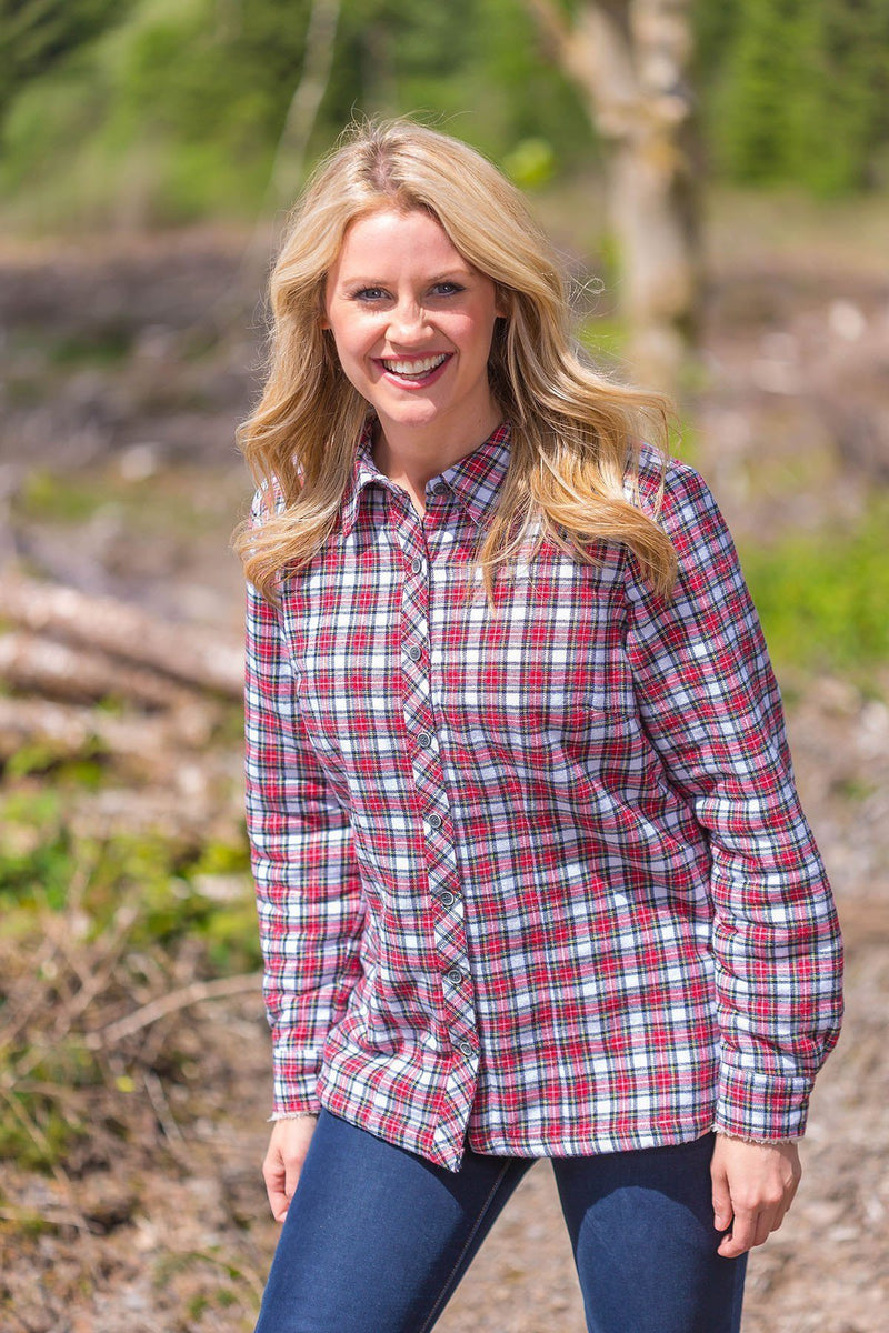 Collar Shirts Eskra Fleece Lined Flannel Ladies Red/White Check (LV4) - Lee Valley Ireland - 2