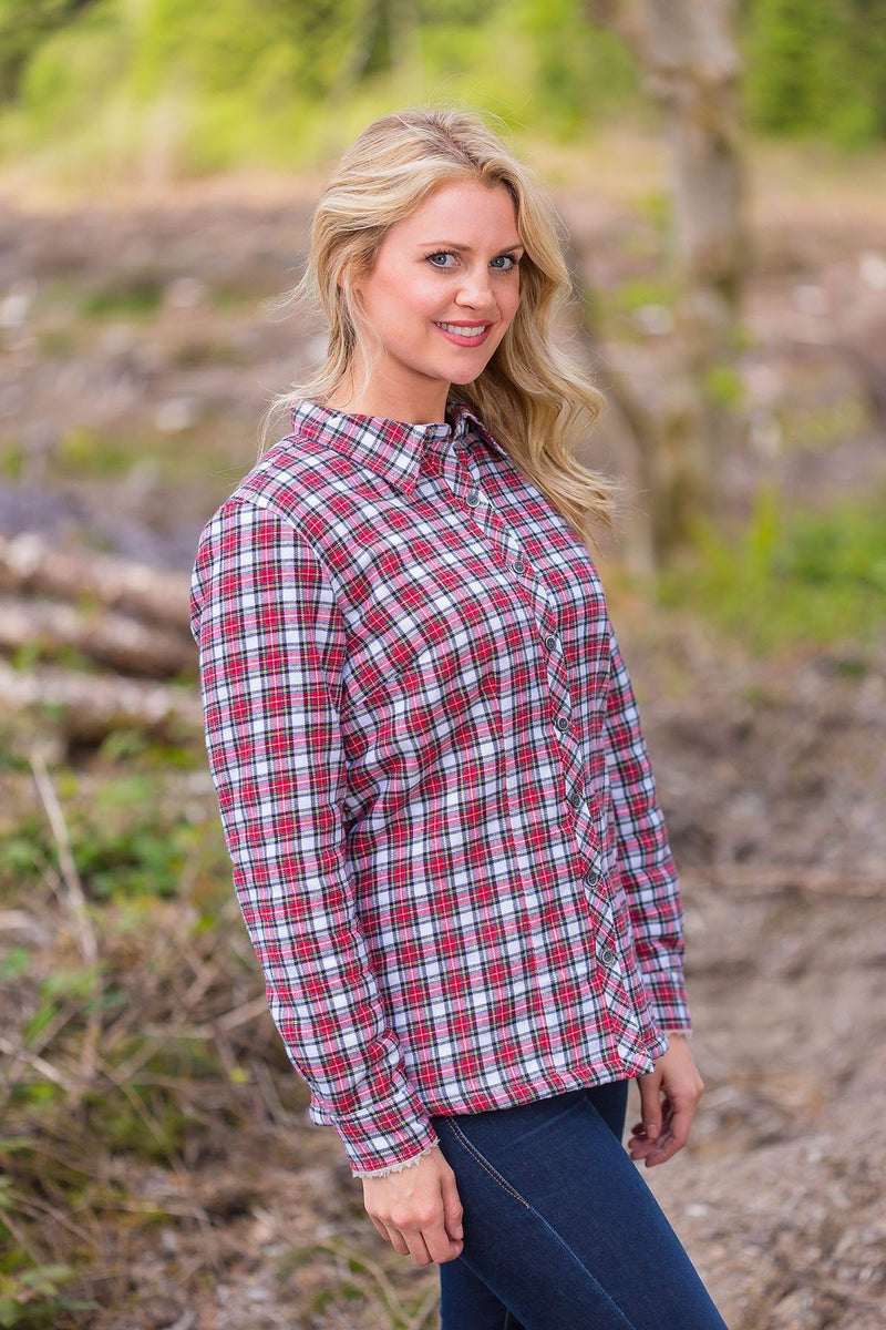 Collar Shirts Eskra Fleece Lined Flannel Ladies Red/White Check (LV4) Collar Shirt Lee Valley Ireland