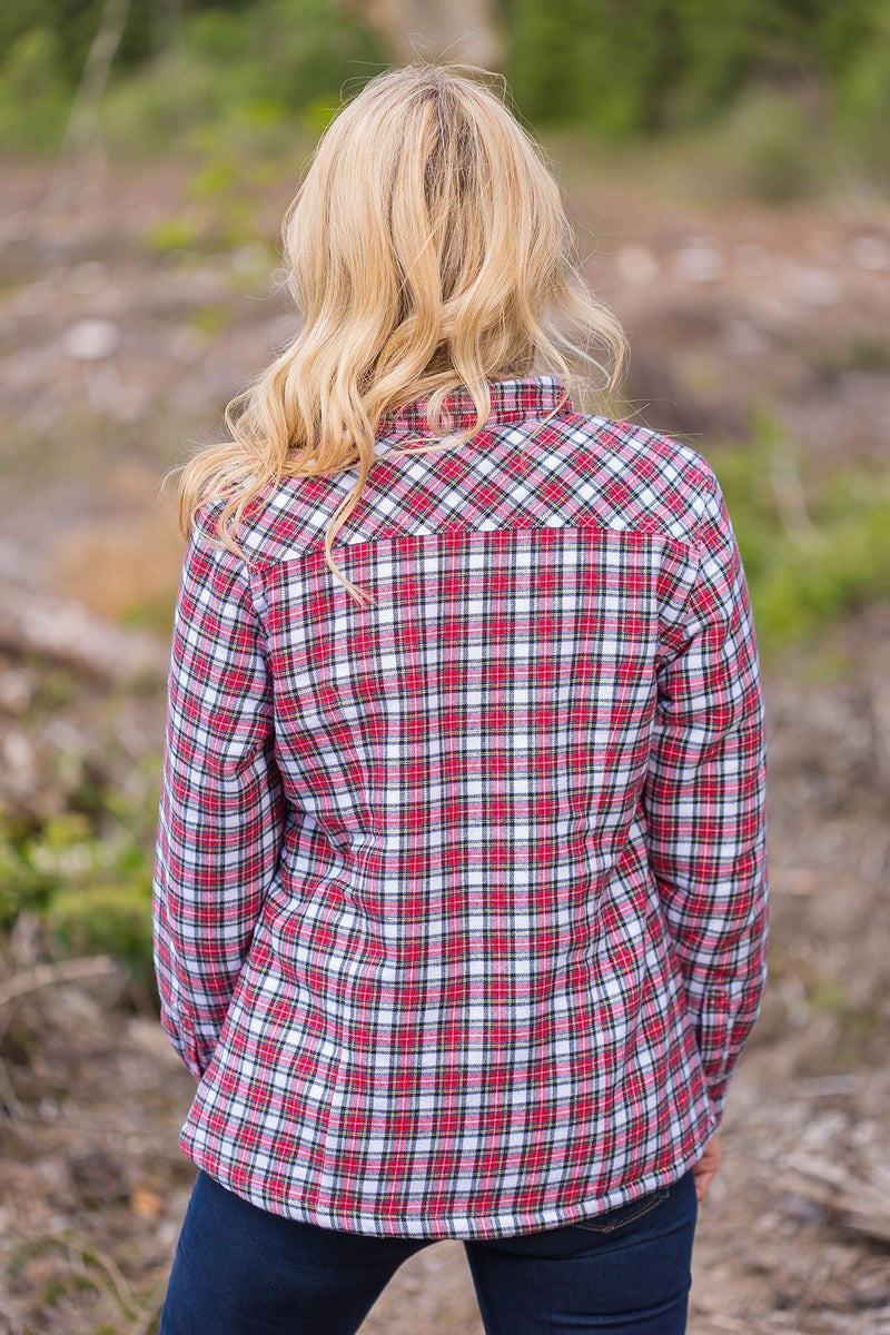 Collar Shirts Eskra Fleece Lined Flannel Ladies Red/White Check (LV4) - Lee Valley Ireland - 3