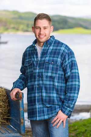 Collar Fleece Lined Flannel Shirt Men's Blue Tartan (LV8) - Lee Valley Ireland - 1