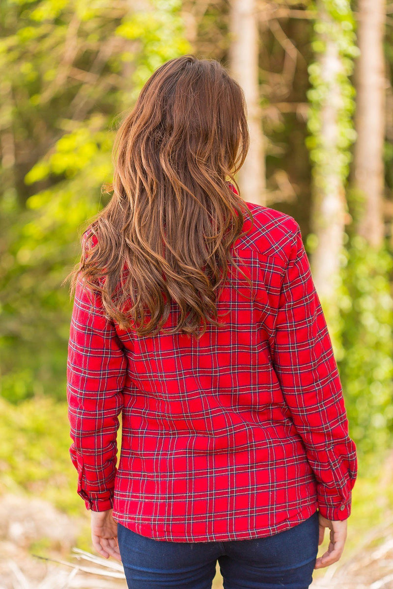 Collar Shirts Eskra Fleece Lined Flannel Ladies Red Tartan - Royal Stewart (LV27)