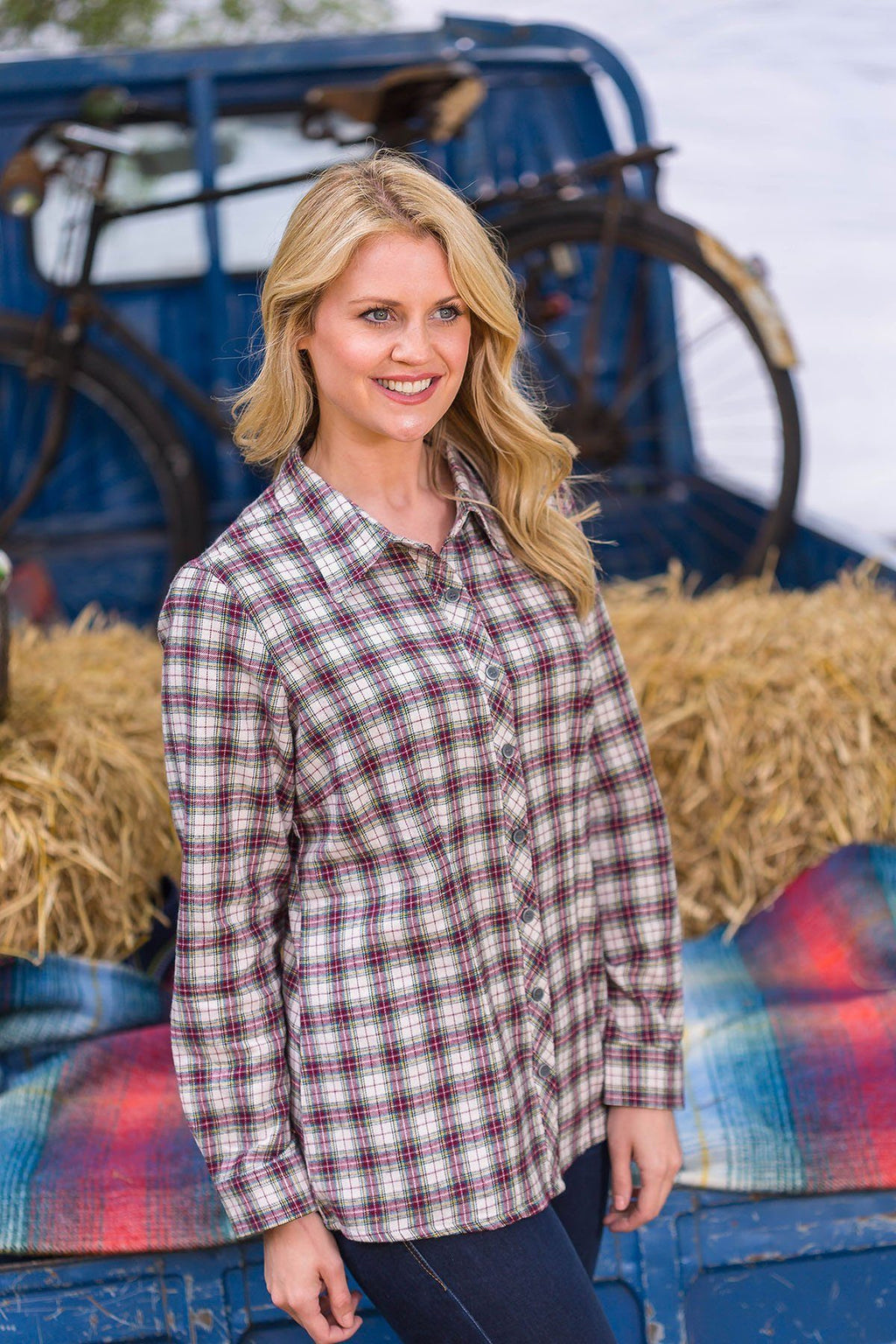 Collar Shirt Eskra Ladies Cotton Flannel Maroon Check (LV7) Collar Shirt Lee Valley Ireland