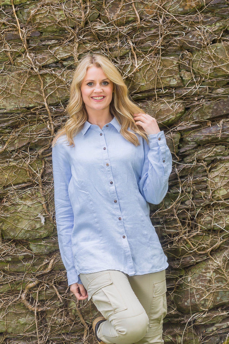 Collar Shirt Ladies Linen Washed Garment Dye, Bray Blue Collar Shirt Lee Valley Ireland