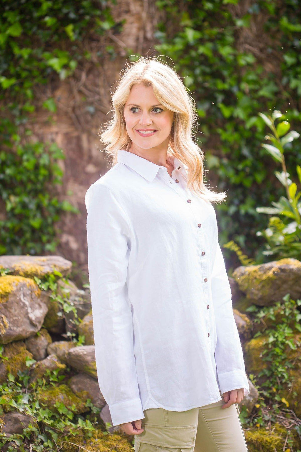 Collar Shirt Ladies Linen Washed Garment Dye, Bray White Collar Shirt Lee Valley Ireland