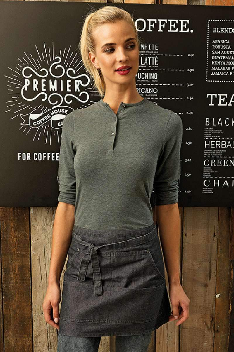 Ladies Long John Roll-Sleeve Tee - Marl Grey - 1